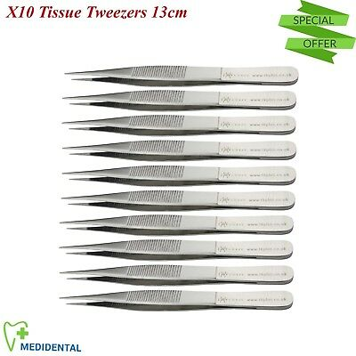 13cm Thumb Tissue Forceps X 10 Surgical Dressing Tweezers Dental Oral Care Tools