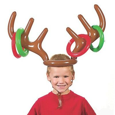 Lx_ Eg_ Gn- Christmas Party Inflatable Reindeer Hat Antler Ring Toss Game Kids