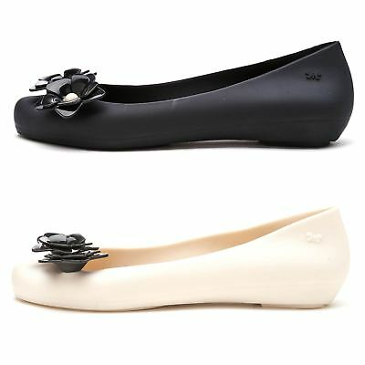 8bc4368a25c2 Zaxy Pop Flower Pearl Ballerina Slip On Flat Jelly Shoes in Black   Ivory  82529
