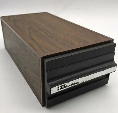 Vintage Sunhing Retro Audio Music Cassette Tape Storage Box 12 Spaces Wood Look