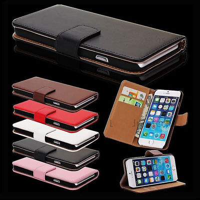Case For iPhone 8 Wallet Magnetic Flip Real Genuine Leather Case Cover