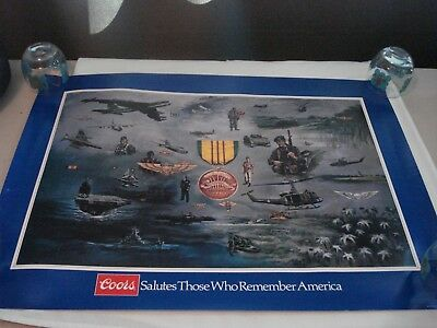 """1984 Coors Beer Military Poster Armed Forces """"Vietnam Service"""" George Skypeck"""