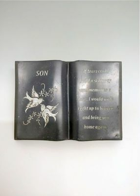 Son Grey Slate With Doves Verse Memorial Book Graveside Ornament Cemetery Plaque