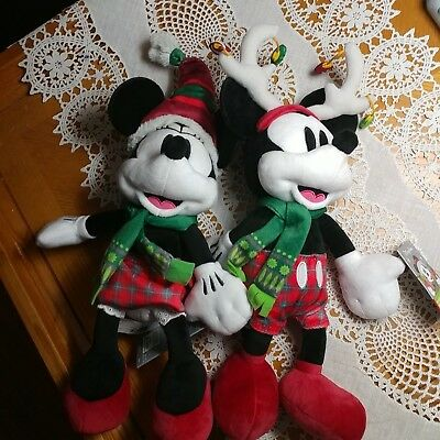 "Adorable 2018 Disney Parks Mickey/Minnie Mouse Christmas Plush 15"" New With Tags"