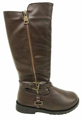 Girls Brown Mid Knee High Winter Riding Zip Up School Boots,10-4 Brianna-25N