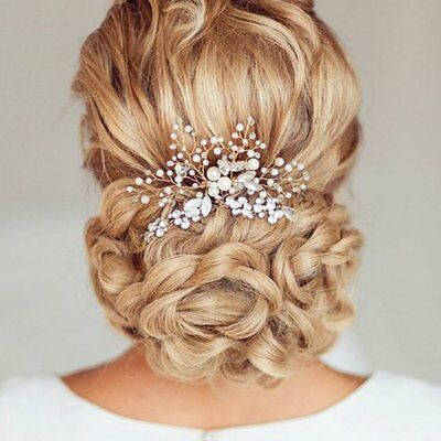 Bridal Tiara Floral Pearl and Crystal Hair Comb Wedding Bridal Headdress MO