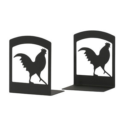 "Black Wrought Iron ROOSTER Book Ends - Set of 2 Bookends 5"" W x 6 1/4"" H x 3"" D"