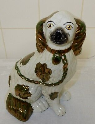 Antique Staffordshire Copper Lustre King Charles Spaniel Fireside Wally Dog
