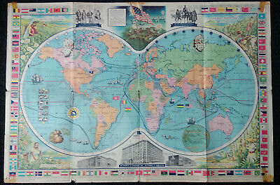McCORMICK'S MAP OF THE WORLD - 1960 - SPICES/FLAGS/EXPLORERS etc- UNUSUAL ITEM.