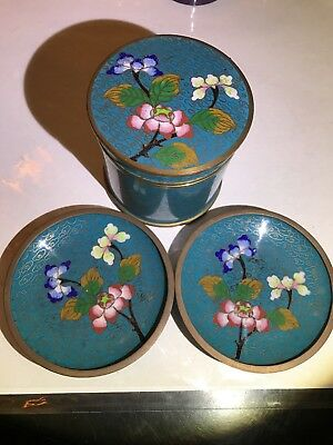 Antique Chinese Turquoise  Cloisonne Canister Humidor Jar & 2 Trinket Saucers