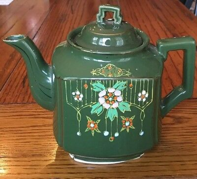 VINTAGE TEAPOT Glossy Green Hand Painted Gold Ceramic Christmas COFFEE POT~JAPAN