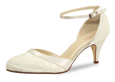 Brautschuh Penny Gr. 40,5 ivory Satin Pump Rainbow Club Soft Bliss
