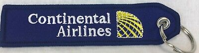 Continental United Airlines Keychain Key ring embroidered pre-merger Globe Logo