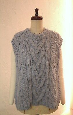 ALPACA BABY BLUE ARAN  KNIT CABLE SWEATER VEST OVERSIZED 8 COCOdake HAND KNITTED