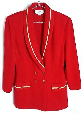 St John Collection Marie Sz 10 Red Santana Knit Double Breasted Blazer Jacket
