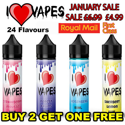 E LIQUID 60ml VAPE JUICE ELIQUID SHISHA I LOVE VAPES 0mg 3mg 6mg 80/20  50/50 VG
