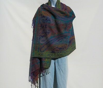 Yak/Sheep Boiled Wool Blend|Shawl/Wrap|Handcrafted|India|Rainbow: Teal & Blue