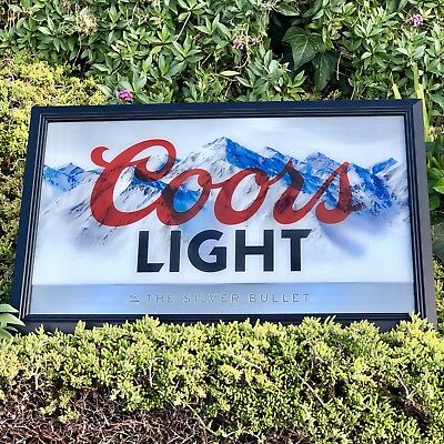 """Coors Light The Silver Bullet Beer Bar Man Cave Pub Mirror """"New"""""""
