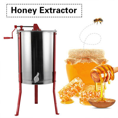 Durable Manual Honey Extractor 4 Frames Stainless Steel Bee Beekeeping Easipet