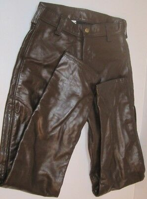VTG Woman's Small LANGLITZ BROWN LEATHER ZIP SIDES MOTORCYCLE PANTS COLLECTIBLE