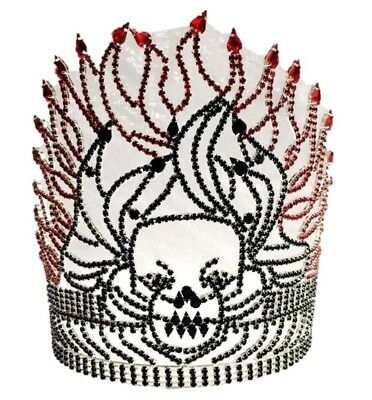 "8"" Black Rhinestone Skull Tiara Crown Red Fire Flame Halloween Costume Accessory"