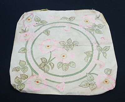 Art Nouveau Crafts Pillow Case Hand Embroidered & Tinted Vintage Antique 1910s