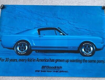 Bf Goodrich Sign Of A  Blue 1965 Ford  Gt 350 Mustang  Poster