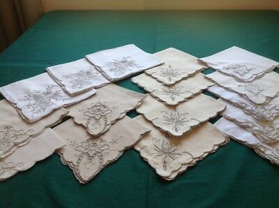 Lot of 14 Vtg Ivory Madeira Napkins W Ecru Embroidery and Cut-Work Madeira #14
