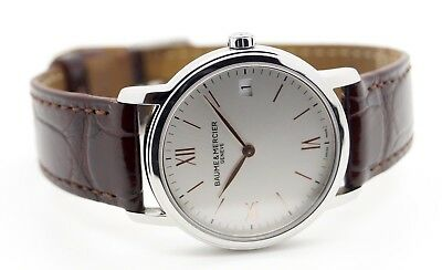 Baume & Mercier 10147 Classima Silver Dial Brown Leather Ladies Watch