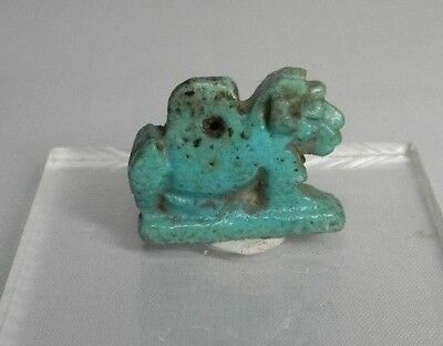 Ancient Egyptian Lion Amulet, faience .600 BC