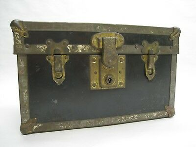 Antique Early 1900's Salesman Sample Metal & Brass Bassett Locking Trunk Vintage