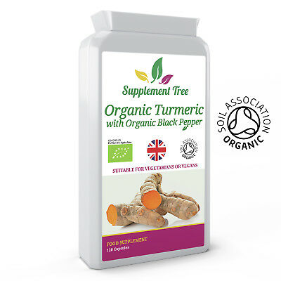 ORGANIC Turmeric Curcumin And Black Pepper 120 Capsules - High Strength Tumeric