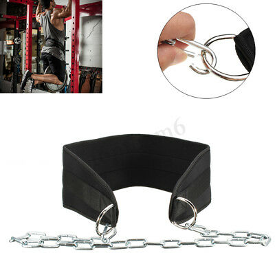 Weight Lifting Dip Belt Waist Gym Strength Power Training Fitness Pull Up Chain