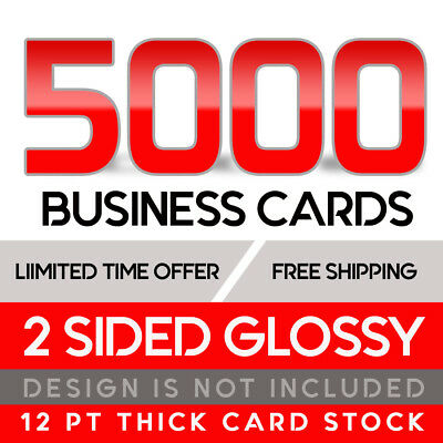 5000 Business Cards - Full Color W/ Your Artwork Ready To Print - 2 Sided Glossy