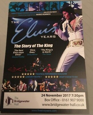 Elvis 'The Story Of The King' @ The Bridgewater Hall Manchester A5 Promo Flyer