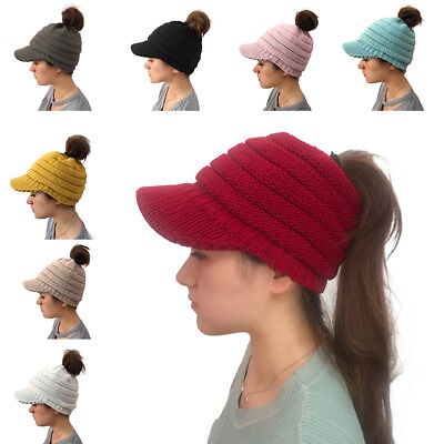 Warm Women's Woolen Baseball Cap Messy Bun Ponytail Beanie Winter Knit Hole Hats