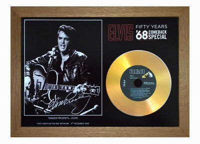 Elvis Presley '68 Comeback Special' 50Th Anniversary Signed Gold Cd *oak Frame*