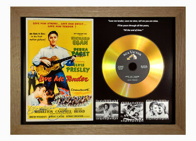 Elvis Presley 'love Me Tender' Signed Gold Disc Gift In ** Solid Oak ** Frame