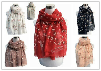 New Ladies Long Cute Winter Christmas Two Robin Birds Patten Print Scarf Wrap