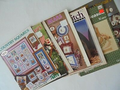 9 Lot Cross Stitch Country Bears Fair Miniatures Squares Patterns Booklets