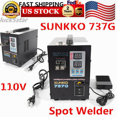 110V  Hand Held SUNKKO 737G Battery Spot Welder with Pulse & Current Display USA