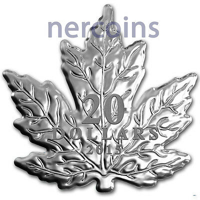 Canada 2015 Maple Leaf Shaped $20 1 Oz Pure Silver Proof Coin Perfect Sold Out!