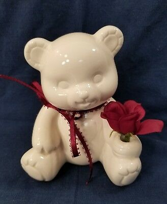 Vintage Russ Ceramic Teddy Bear Bank Figure, White w/ Maroon ribbon/rose  #5952