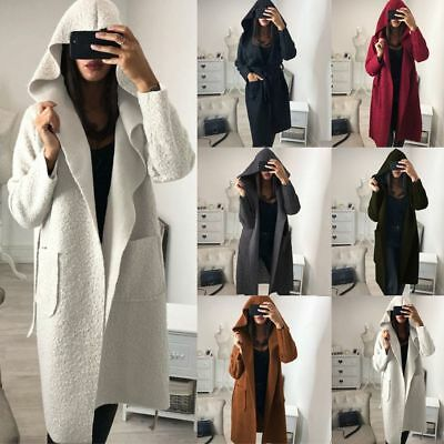 Womens Plain Fluffy Hooded Long Cardigan Coat Ladies Winter Belt Trench Jacket