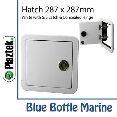 Plaztek Hatch 287mmx287mm White & S/Steel & concealed hinge