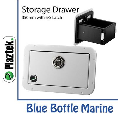 NEW Plaztek Storage Drawer 350mm White & black from Blue Bottle Marine
