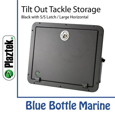 Plaztek Tackle Storage Large 2 Tray-Horizontal-Black & S/Steel & torque hinge