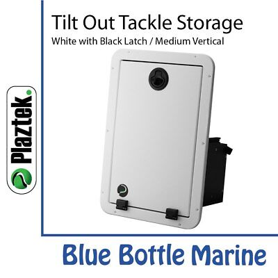 Plaztek Tackle Storage Med 2 Tray-Vertical-White & Black & torque hinge