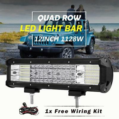 """12/"""" QUAD-ROW 1128W CREE LED Work Light Bar Flood Spot Offroad For Ford Chevy Ram"""