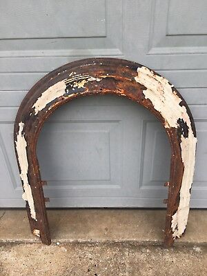 Antique Vintage Cast Iron Fireplace Surround, Unusual Arch Or Round Top